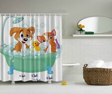 "DOG CAT RUBBER DUCKY BATH 70"" Fabric Bathroom Shower Curtain"