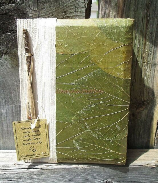 Natural Leaf Bamboo Bark Accented Handmade Bali Journal Unlined Small Diary