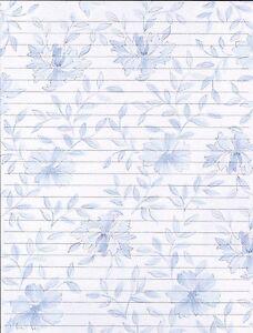 25 sheets /& 10 envelopes Blue Floral Design Lined Stationery Writing Paper Set
