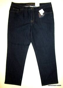 LANDS-039-END-NWT-Straight-Leg-JEANS-Womens-PLUS-18W-18-x-30-Dark-Wash-Indigo-NEW