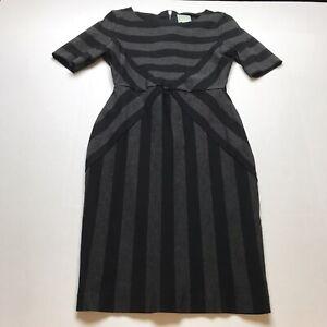 Anthropologie-Maeve-Black-Gray-Geoplane-Pencil-Dress-Short-Sleeve-Sz-10-A1704