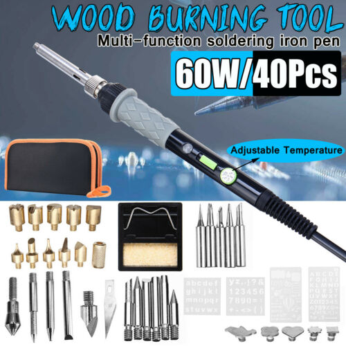60W 40P Carving Burner Soldering Iron Kit Electronics Wood Welding Tool Set .