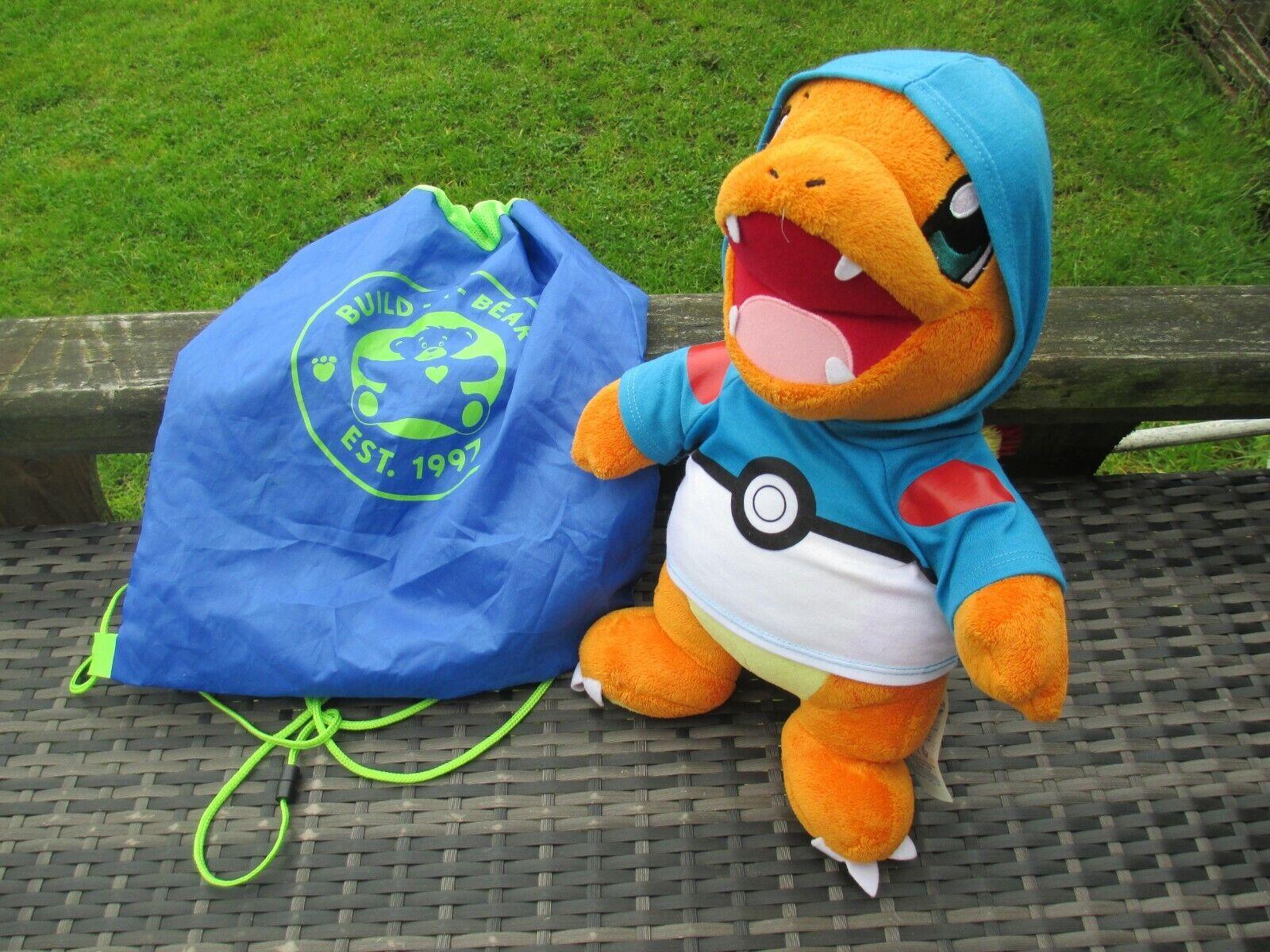 2016 Build A Bear Pokemon - CHARMANDER Blau Ball Hoodie LARGE Plush Soft Toy BAB