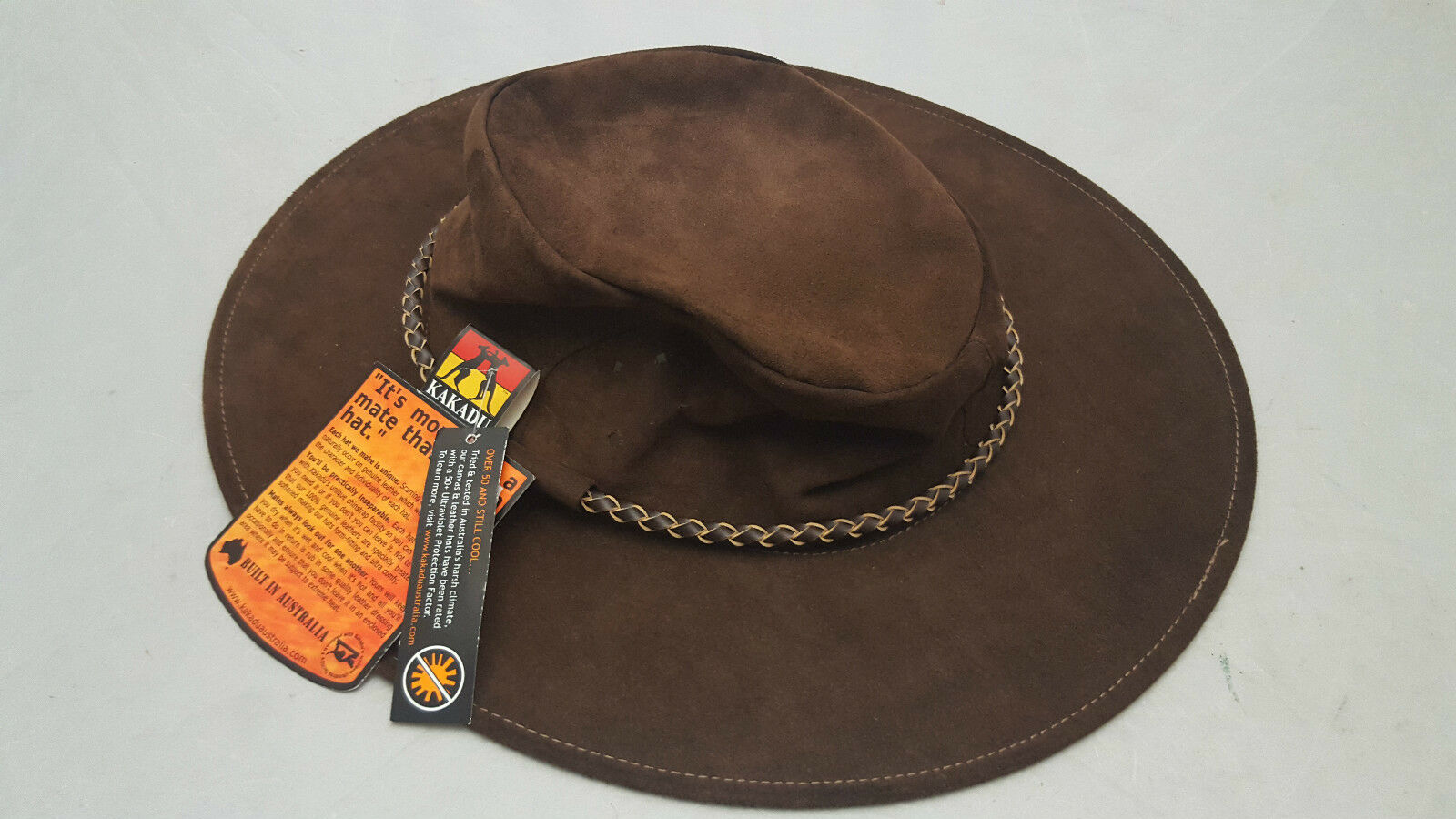 Kakadu Southern Cross Kangaroo Suede Leather Hat Brown Size Small (55cm) NEW