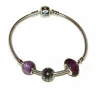 Pandora 16cm Bracelet + 3 Charms Brand Boxed Nice Gift (p220)