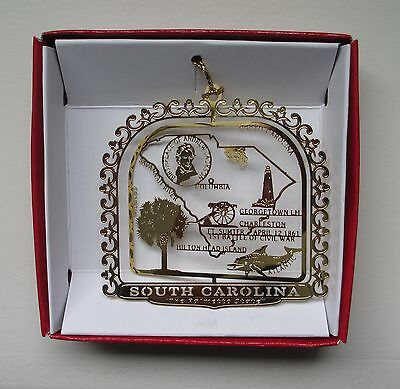 South Carolina Brass Ornament Palmetto Travel State Gift Charleston Hilton Head