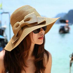 Womens-Cappello-per-il-sole-Bow-spiaggia-della-paglia-Cappello-floscio-Cap