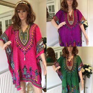New-Ladies-free-size-loose-hippy-boho-kimono-sleeve-Kaftan-top-tunic-blouse