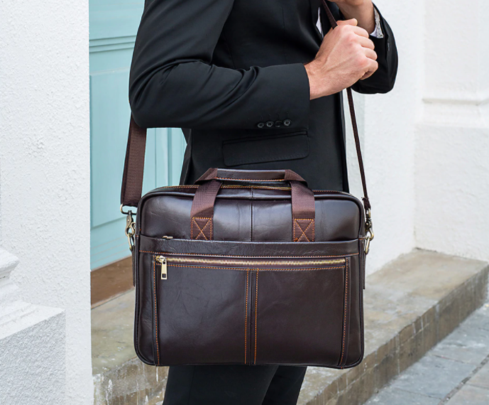 "Genuine Leather Briefcase Messenger Men Bag 14"" Laptop Bag Office Business Tote Bags"