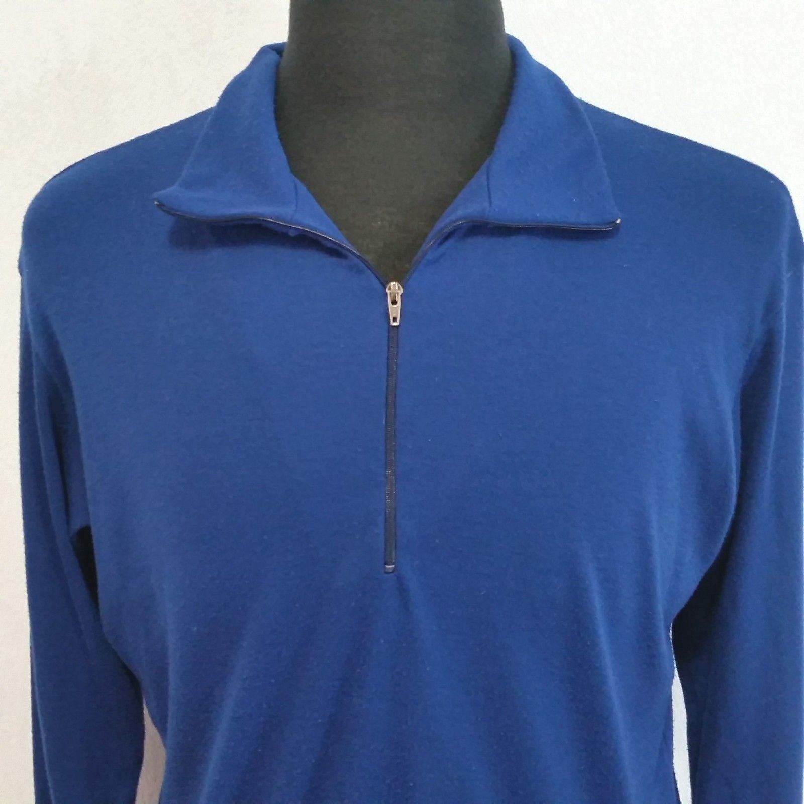 Patagonia  Herren Blau Large Pullover Base Layer 1/4 Zip Vintage 90s USA Made 1992