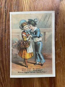 Higgins' German Laundry Soap - Antique 1880s Victorian Trade Card