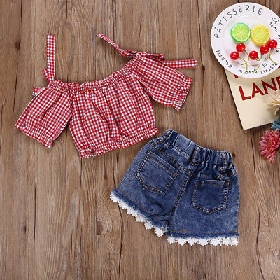 UK 2PCS Toddler Kid Baby Girl Outfit Clothes Top Plaid Shirt Denim Pants Jeans
