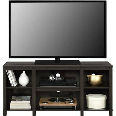 Entertainment Cubby TV Stand Black Oak Espresso Wood Finish up to 50 inch TV
