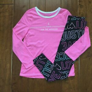 NWT JUSTICE GIRLS 7 8 10 12 OUTFIT~GLITTER HEART DOT L//S TEE BLACK LEGGINGS