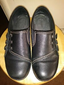 Clarks-Leather-Shoes-Soft-Cushion-Black-Slip-On-Loafers-Women-039-s-Size-9M-Kicks-US