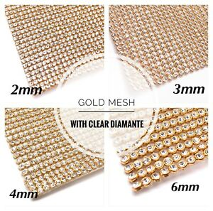 Iron-On-Diamante-Transfers-Strips-Hot-Fix-Rhinestone-Mesh-Crystal-Gold-Base-Trim