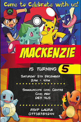 Personalised Various Pokemon Birthday Party Invites inc Envelopes P8