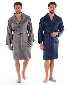 Mens Luxury Satin Robe Silky Dressing Gown Kimono Wrap Nightwear ... 5d11c8245