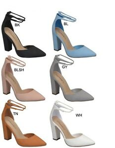 58fc6b6a205 Womens Strappy Wrap Lace Up Ankle Strap Closed Toe Chunky Thick Heel ...