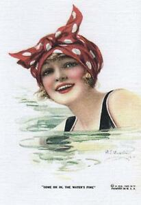 Vintage-Sea-Side-Swimming-Girl-Summer-Retro-Style-Pin-up-NEW-Modern-Postcard