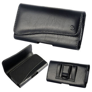 Samsung-Galaxy-S7-HORIZONTAL-BLACK-Leather-Pouch-Belt-Clip-Holster-Case-Cover
