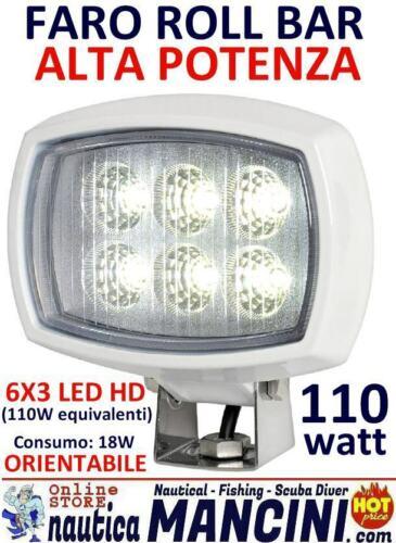 Faro LED HD ROLL-BAR 110W 12//24V Proiettore faretto orientabile barca marino