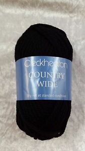 db45e5cfc3f8 Cleckheaton Country Wide  0001 Black Wool 50g 14 Ply ...
