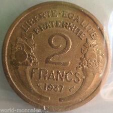 2 francs morlon 1937 : TB : pièce de monnaie française