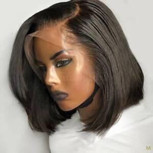 Side Part Bob Lace Front Wigs 100 Brazilian Human Hair Full Wig Pre Plucked Bnx Ebay