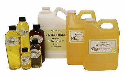 Premium Pure Organic Cold Pressed Jojoba Golden Unrefined Oil 2 oz up to 7 LB
