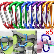 5Pcs D-Anneau Mousqueton Aluminium Porte-clés Carabiner Agrafe Crochet Camping