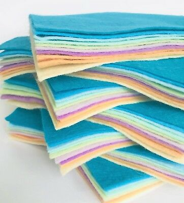 23cm 10 sheet 9 inch blended wool felt square packs ~ colour theme choice