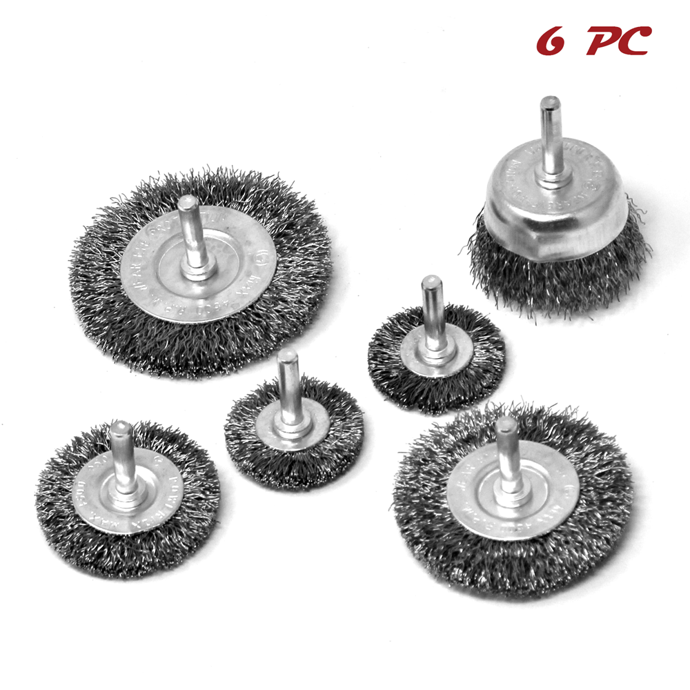 2/'/' Crimped Steel Wire Cup Brush 5pcs with 1//4 in Shank For Power Drill 5XTH008