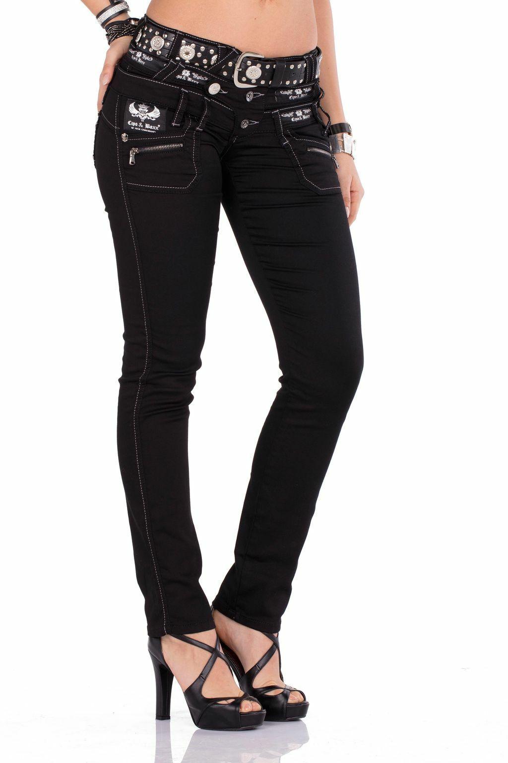 CIPO & BAXX Jeans da da da donna cbw-0313 cbw-313 Nera Slim Fit con o senza cintura 20d2f4