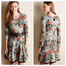 Anthropologie Terry Size 8 Floral Vintage Print Grey Skater Dress Party Summer