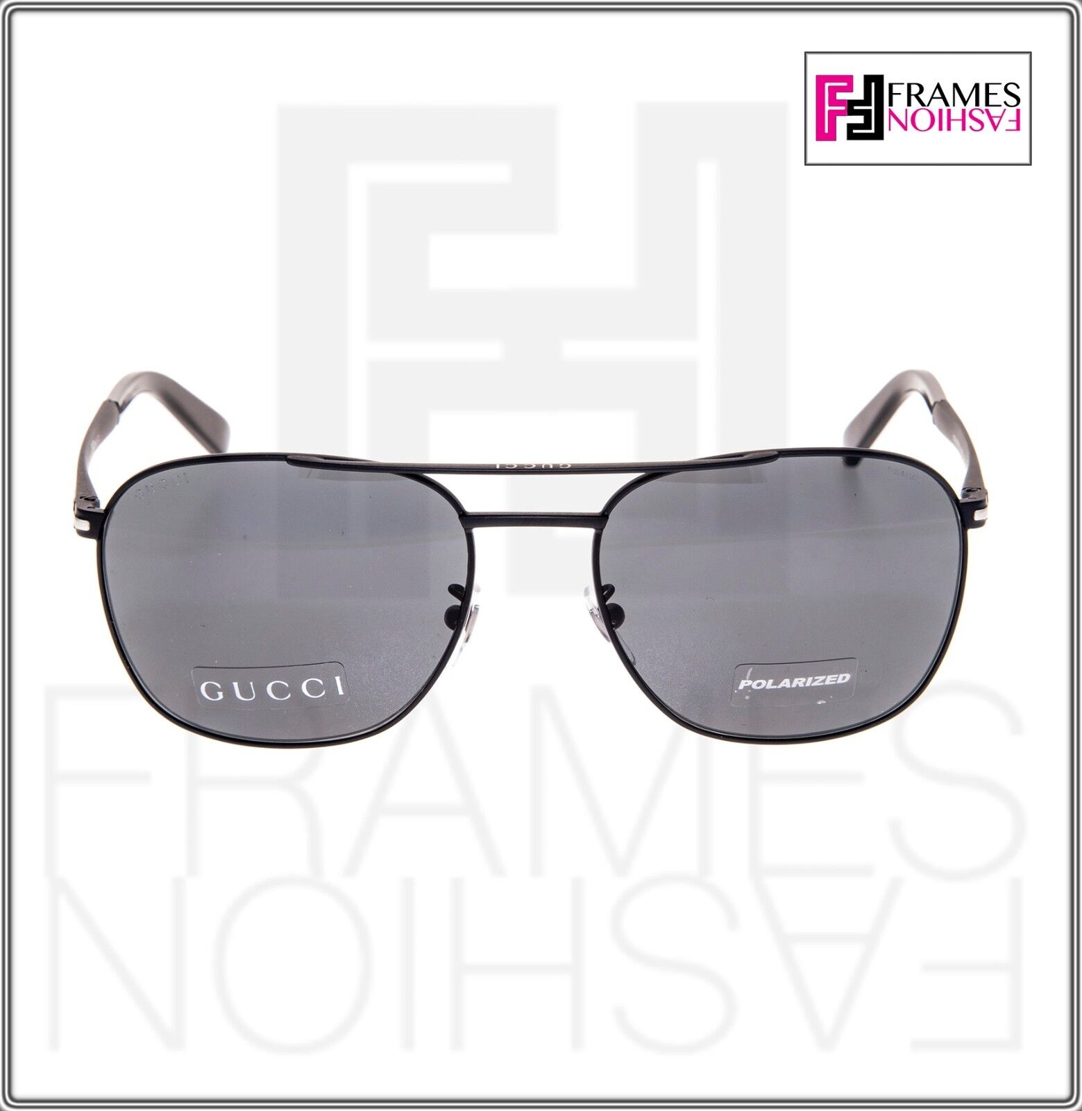 fc508bbd59 Gucci Square Gg2270fs Matte Black Steel Polarized Sunglasses Special Fit  2270 for sale online