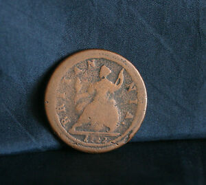 Great Britain 1/2 Penny 1722 Copper World Coin UK Seated ...