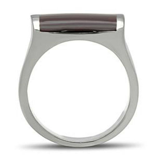 Brown Epoxy Top Silver Stainless Steel Mens Heavy Ring