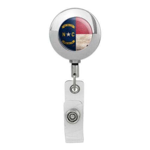 Rustic North Carolina  State Flag Metal Chrome Badge ID Card Holder