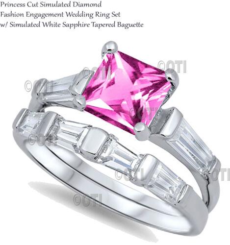 Princess Cut Pink Sapphire Fashion Engagement Genuine Sterling Silver Ring Set
