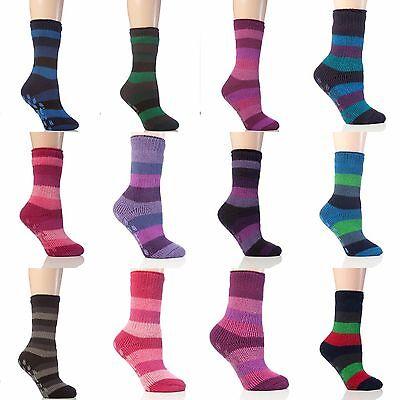 Mens Thermal Non Slip Gripper Slipper Socks Black//Charcoal Stripe Heat Holders