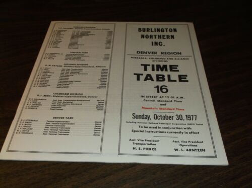 OCTOBER 1977 BURLINGTON NORTHERN DENVER REGION EMPLOYEE TIMETABLE #16
