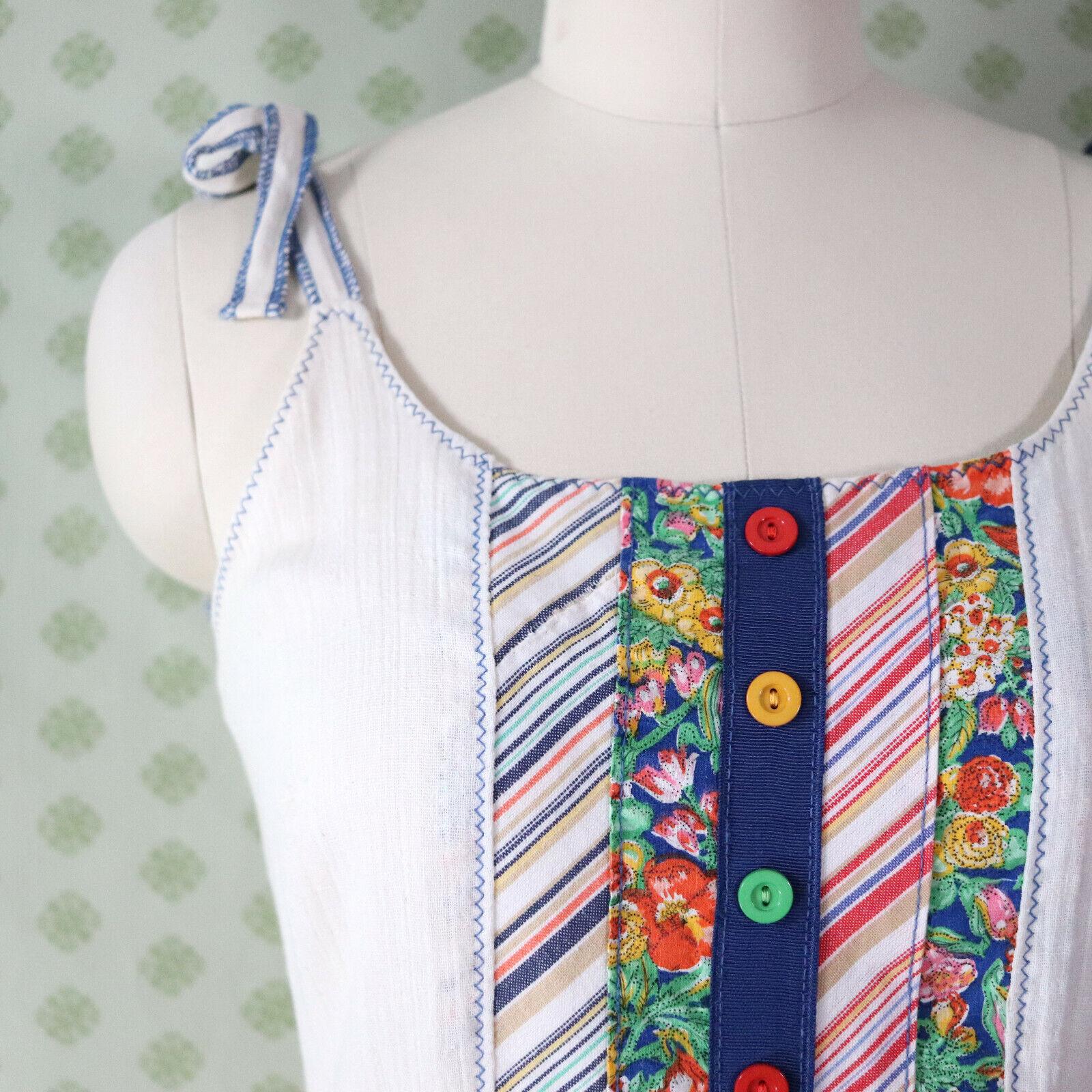 vintage 60s 70s patchwork guaze maxi dress XS pra… - image 5