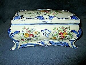 Bonbonniere-boite-a-bijoux-vide-poche-coffre-coffret-faience-bleue-de-Desvres