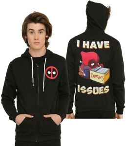 Marvel-Comics-amp-We-Love-Fine-Deadpool-I-Have-Issues-Zip-Up-Hoodie-Size-X-Large