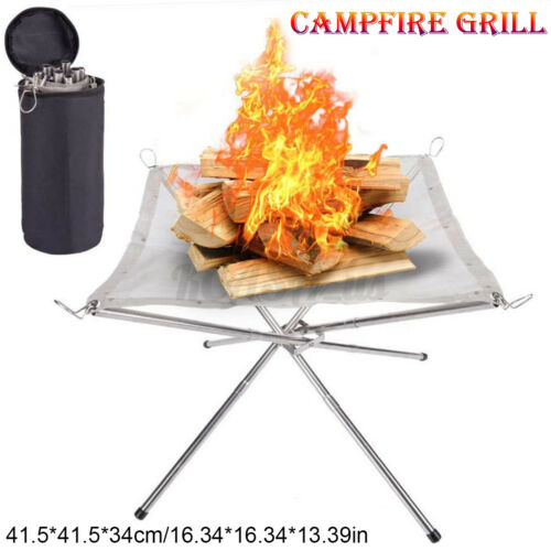 Portable Folding Wood Camping Stove Outdoor Hiking BBQ Cooker Campfire