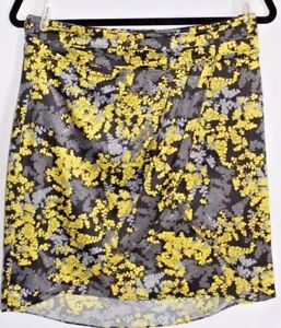 H-amp-M-Women-039-s-Size-10-Black-Lime-Gray-Floral-Cross-Front-Wrap-Short-Mini-Skirt