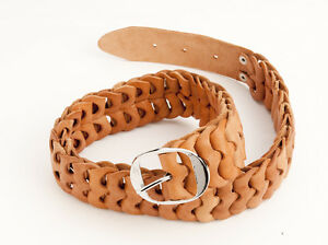 Light-brown-leather-chunky-looped-belt-metal-buckle-waist-27-29-inches-69-74-cm