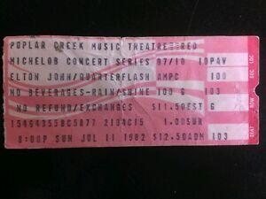 elton john quarterflash ticket stub 7 11 1982 poplar creek make an