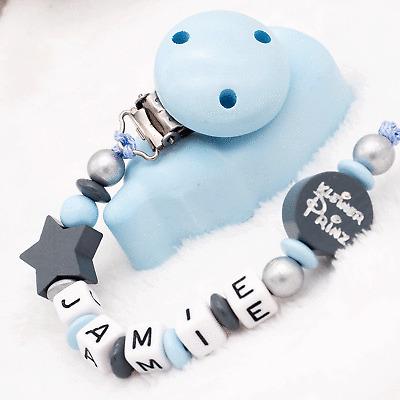 Schnullerkette mit Namen ★ kleiner PRINZ ★ dunkelblau grau ★ Babygeschenk Junge
